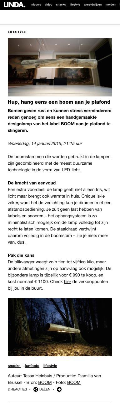 BOOM featured op Lindanieuws.nl | 16 januari 2015