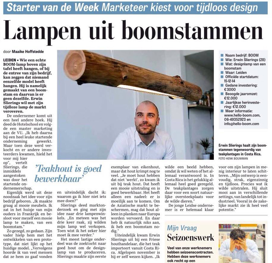 Interview met Erwin Slierings van BOOM in De Telegraaf | 03-03-2015